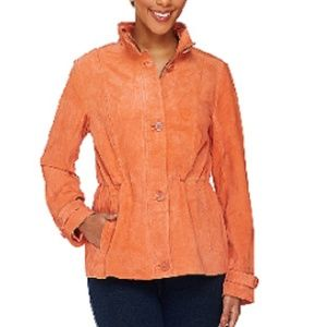 NEW Washable Genuine Suede Anorak w/ Stand Collar
